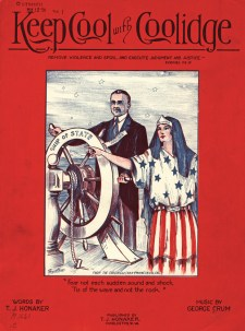 30 Calvin Coolidge, Keep Cool With Coolidge, cover of sheet music, published by T.J. Honaker, 1924
