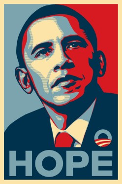 44 Bo, Hope, color screen print, by Shepard Fairey, 2008