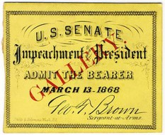 Andrew Johnson Impeachment Ticket 3-13-1868