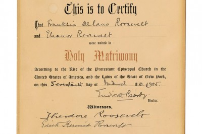 Roosevelt Marriage Certificate