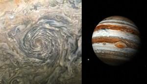 Dan a conocer impresionante imagen de un vórtice durante una tormenta en Júpiter