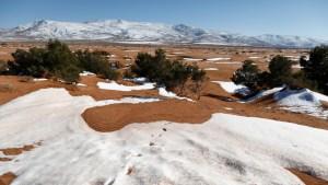 Nieve tiñe de blanco una parte del desierto del Sahara y varias regiones de Arabia Saudita