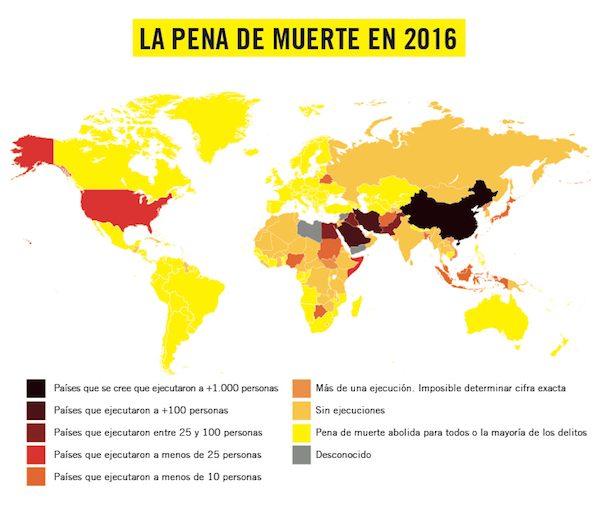 Mapa de las ejecuciones en 2016 elaborado por Amnistía Internacional
