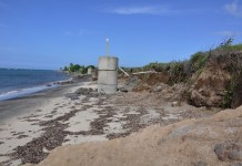Erosión en las playas de Nieves, en el Caribe