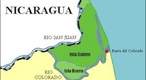 Mapa de las islas Calero, Brava y Portillos, Costa Rica. El recuadro delimita la zona amarilla que corresponde a la región disputada entre Costa Rica y Nicaragua durante el conflicto fronterizo de 2010-2011 entre ambos países a causa del dragado del río San Juan.