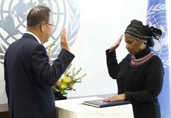 Phumzile Mlambo-Ngcuka promete como directora de ONU Mujeres ante Ban-ki Moon