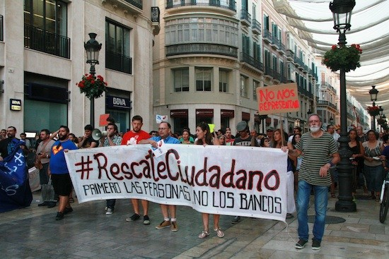 Manifestación ciudadana contra el apoyo a la banca con dinero público