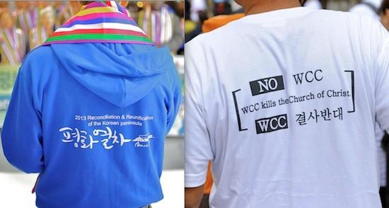 X Asamblea del Consejo Mundial de Iglesias en Busan, Corea. Camisetas a favor (Tren de la Paz) y en contra de la Asamblea