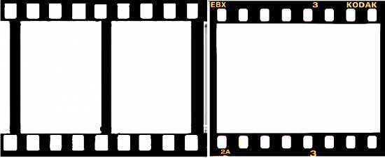 Medio formato de la película de 35 mm (24 x 18 mm, izquierda) y tamaño nativo de 24 x 36 mm del fotograma de película de 35 mm, 135 o paso universal