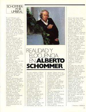 Schommer por Umbral. FOTO, nº 0, marzo de 1982