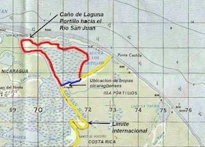 """Figura indicando ubicación del caño """"Google"""" o Caño """"Pastora"""" excavado por Nicaragua en Isla Portillos en octubre del 2010 en azul y en rojo el territorio """"en litigio"""" según la CIJ (elaborada por el Dr. Allan Astorga)."""