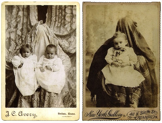 "Fotopostales de niños con madre oculta. ('The hidden mother', ""La madre oculta"")"