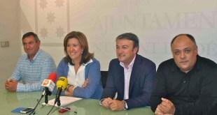 Comisión especial de la Xarxa d'Alcaldes de la Marina Alta. De izquierda a derecha: Juan Alejandro Mut, alcalde de Sanbet y Els Negrals (Independientes); Ana Kringe, alcaldesa de Dénia (PP); José Chulvi, alcalde de Xàbia/Jávea (PSPV-PSOE); y Joan Miquel Garces, apcalde de Xaló (/Bloc-Compromís)