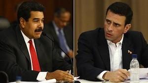 Nicolás Maduro y Henrique Capriles en una mesa de diálogo