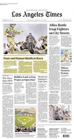 Portada de 'Los Angeles Times' del 31 de marzo de 2003 con la foto de Brian Walski