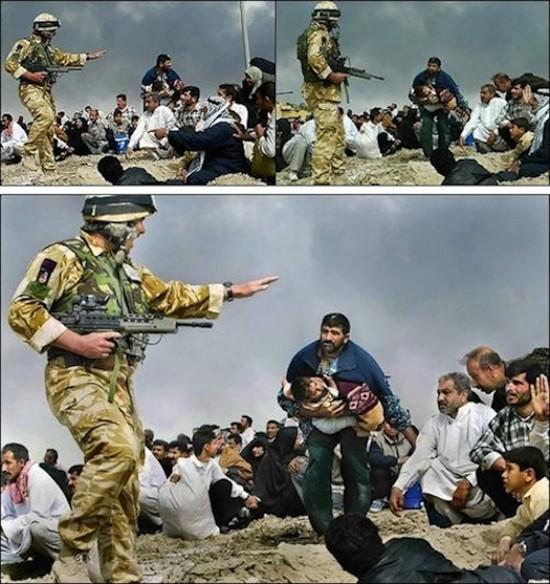 Brian Walski. Soldado británico apuntando con su fusil a un grupo de civiles iraquíes. Cerca de Basora, marzo de 2003. Arriba, las dos imágenes de la secuencia que usó el fotógrafo para conseguir la foto re-creada (en grande)