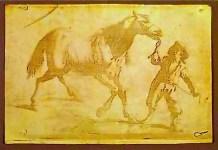 Niepce. Muchacho tirando de un caballo (reproducción de un grabado flamenco del siglo XVII), heliografía, 1825