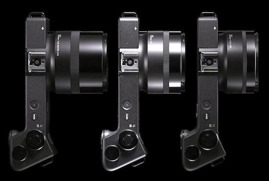 Sigma dpQuattro, de izquierda a derecha modelo 1, con objetivo gran angular 19 (28) mm; modelo 2, con objetivo normal 30 (45)mm; y modelo 3, con teleobjetivo corto 50 (75 )mm