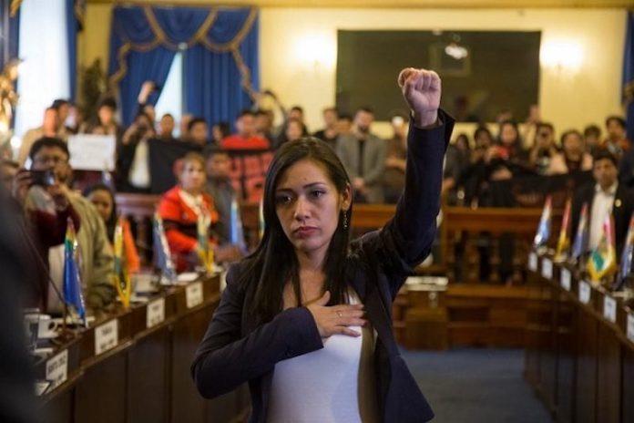 Adriana Salvatierra asume la presidencia del Senado de Bolivia. Imagen de Pressenza/Kandire.bo