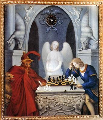 Grabado de la pintura de Moritz Retzsch (1779-1857) 'Jaque mate' sobre el mito de Fausto.