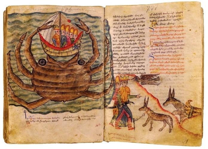 """""""Alexander Romance"""", un manuscrito del siglo XVI hecho en Roma por un obispo armenio, relata la vida de Alejandro Magno. Aquí se muestra a la nave de un rey macedonio tragada por un enorme cangrejo marrón. Crédito Instituto de Mesrop Mashtots de manuscritos antiguos"""
