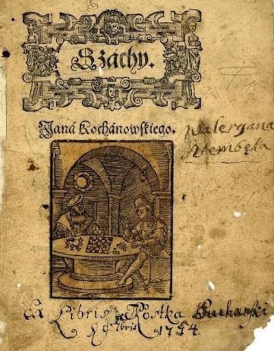 Portada de la obra Szachy, del poeta polaco Jan Kochanowski.
