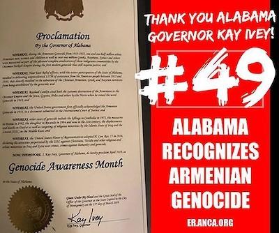 Declaración del estado estadounidense de Alabama reconociendo el genocidio armenio