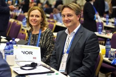 El presidente de la NSF, Morten Lillestol Madsen, durante la asamblea de la FIDE en Batumi
