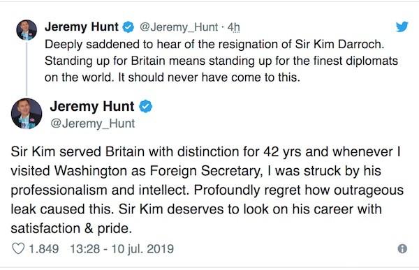 Tuit Jeremy Hunt sobre Kim Darroch