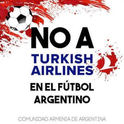 Cartel de la campaña armenia contra el patrocinio de la camiseta de River