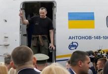 Oleg Sentsov a su llegada liberado a Ucrania, en septiembre de 2019
