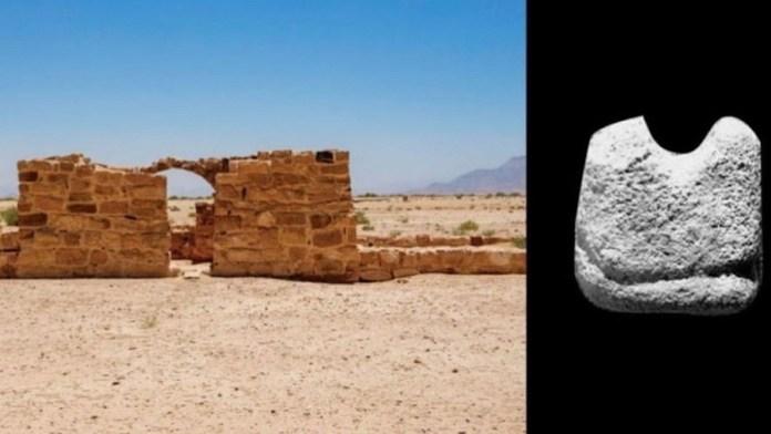 Ruinas de Humayma, al sur de Jordania. Al lado, pieza más antigua de ajedrez.