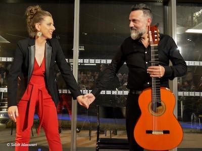 Buena sintonía entre Gema Caballero y Javier Patino en el Treinta Festival Flamenco de Nimes. 13ENE2020