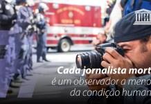 Cartel de la Unesco en portugués denunciando el asesinato de periodistas