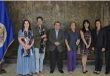 Miembros de la CIDH: Antonia Urrejola Noguera (vicepresidenta primera), Margarette May Macaulay, Edgar Stuardo Ralón Orellana, Esmeralda Arosemena de Troitiño, Julissa Mantilla Falcón, Flávia Piovesan (vicepresidenta segunda) y Joel Hernández García(presidente). Foto OEA.