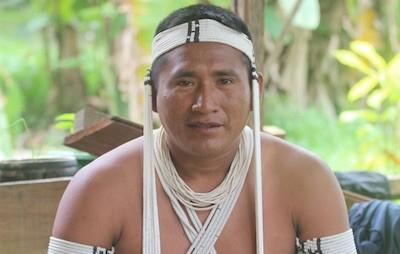 Kenampa Marubo, líder de UNIVAJA, la organización indígena del Valle del Javarí. © Silia Moan/UNIVAJA