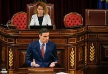 Pedro Sánchez defiende el estado de alarma en España ante el Congreso de los Diputados. Madrid 6 de mayo de 2020
