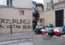 La iglesia armenia del Rey Santo con basura a la entrada y la pintada 'Esta patria es nuestra', escrita en turco