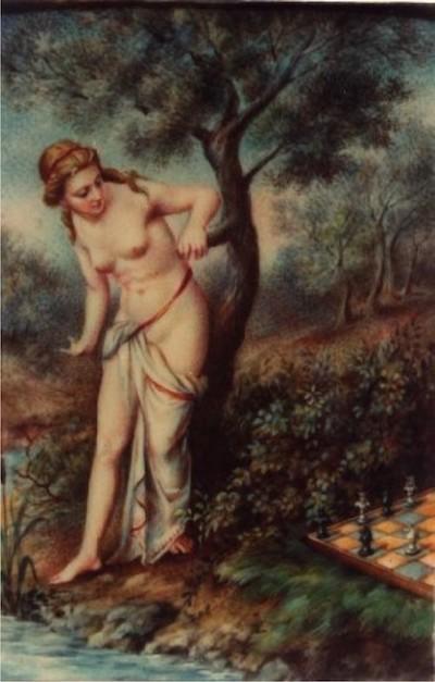 'Caissa', la diosa del ajedrez, obra del pintor y grabador italiano, Doménico María Fratta.