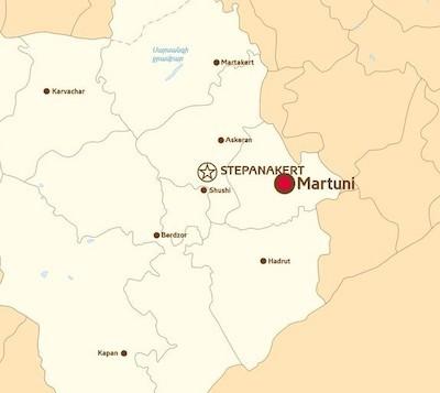 Mapa donde se ubica Martuni, en Nagorno Karabaj, Artsaj para los armenios