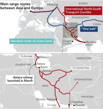 Mapa en inglés del proyecto, arriba mapa general de la ruta, abajo detalle en su paso por Irán.