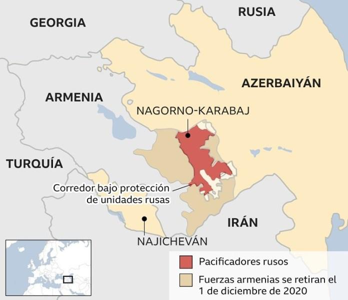 Mapa de la situación en Nagorno-Karabaj en diciembre 2020