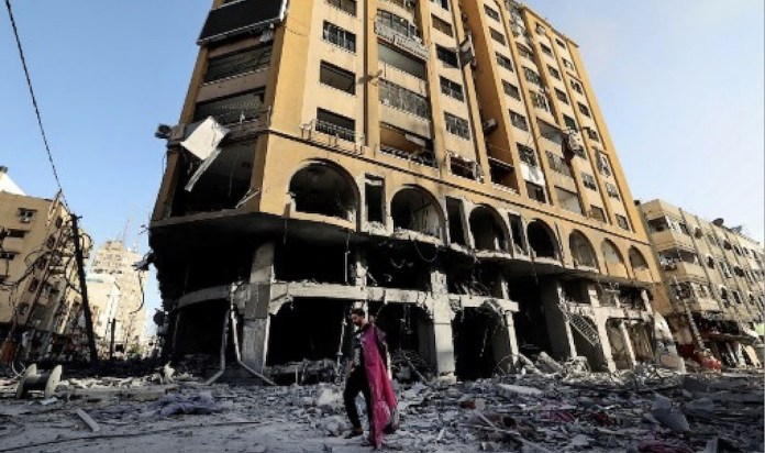 Gaza torre Al-Jawhara medios prensa