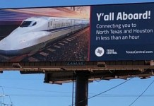 Valla publicitaria de Texas Central autopista 30 en Grimes 21DIC2018.