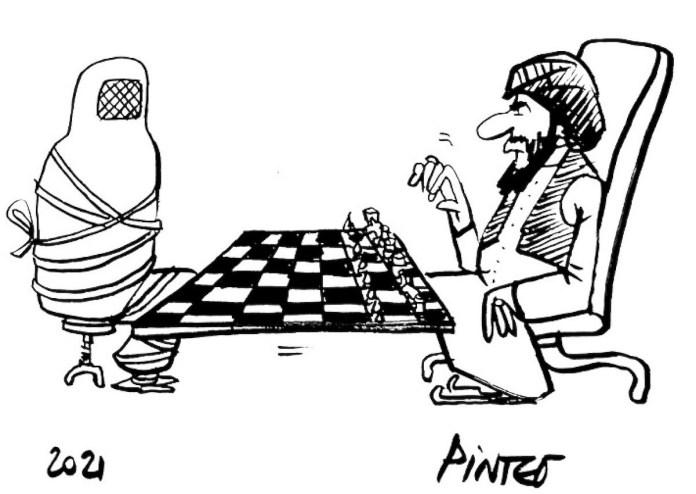 Dibujo del caricaturista francés Patrick Pinter. El texto que acompañaba en su original: 'Los talibanes son los únicos al mando en Kabul'