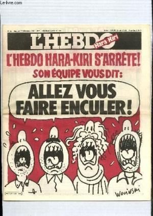 Último ejemplar que se publicó en 1981 de L'Hebdo Hara-Kiri