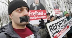 Concentración del RSF Alemania en solidaridad con Khadija Ismayilova.