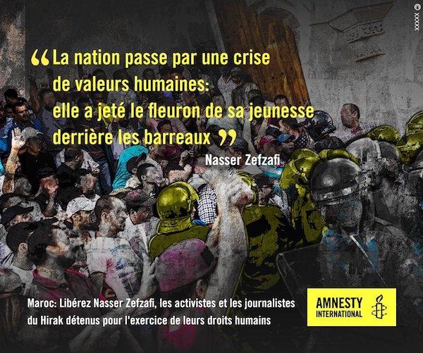 Cartel de Amnistía Internacional solicitando en francés la libertad de los detenidos en el Rif.