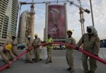 Trabajadores de la construcción inmigrantes en Catar
