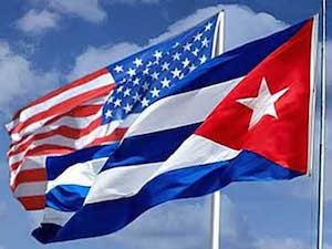 Banderas de Cuba y EEUU. Foto: rreloj.wordpress.com